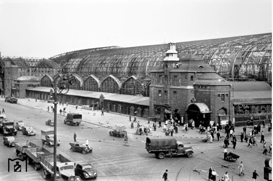 Heavily damaged Hamburg central station after WWII
